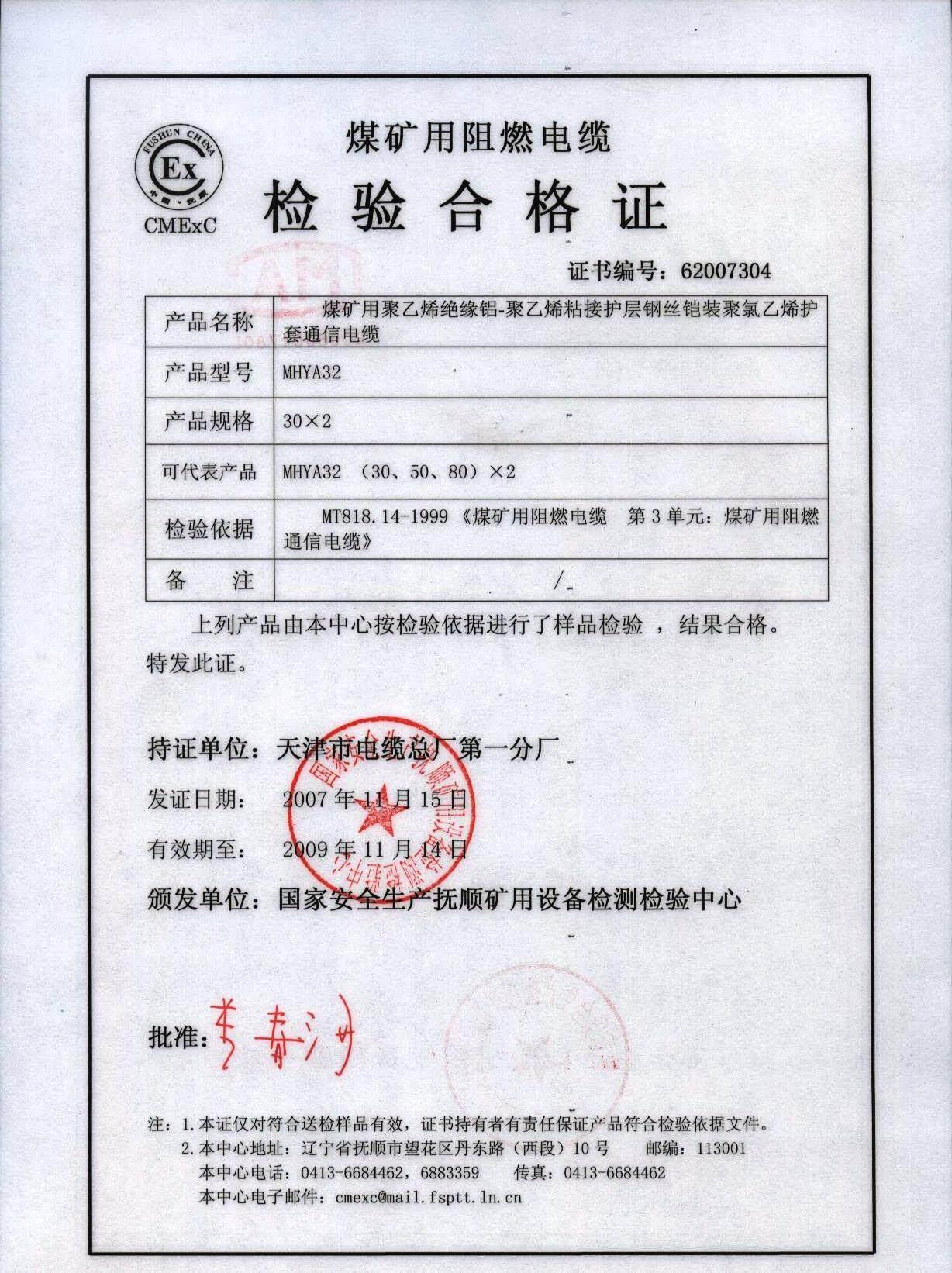 MHYA32检测合格证